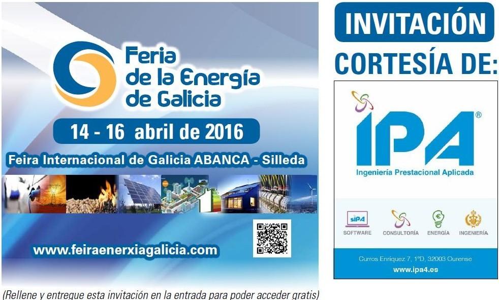 Captura Invitacion IPA Feria Energia Galicia 2016 en recinto ferial Silleda